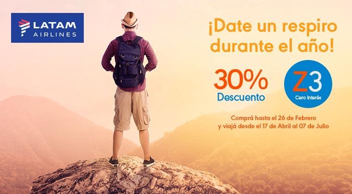 Descuento 30% Latam para volar en Argentina con Tarjeta Naranja