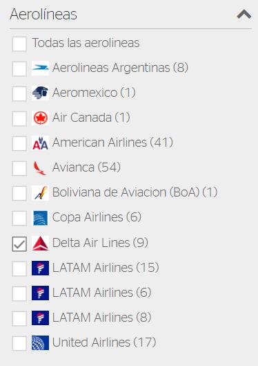 Filtrar vuelos Delta Airlines
