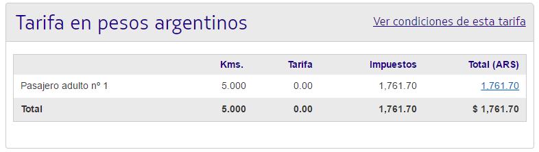 Promocion Asunción Latam Pass impuestos por costo emisión del ticket